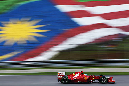 Fernando Alonso of Spain and Ferrari drives on his way to winning the Malaysian Formula One Grand Prix at the Sepang Circuit on March 25, 2012 in Kuala Lumpur, Malaysia