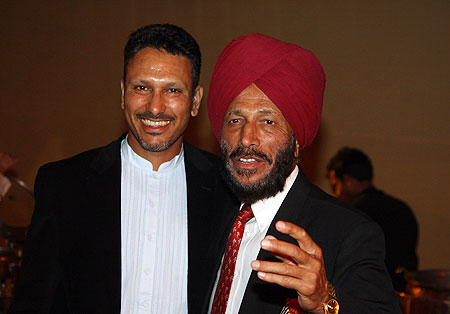 Jeev Milkha Singh of India with his father Milkha Singh