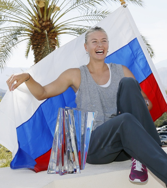 Maria Sharapova of Russia poses with her trophy