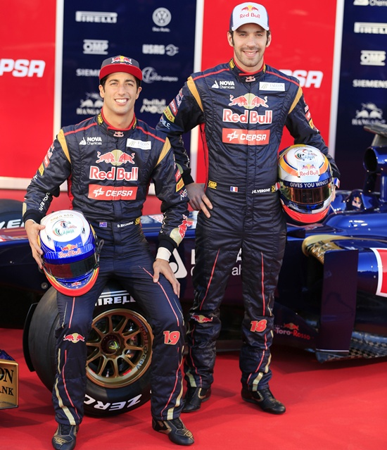 Toro Rosso Formula One drivers Jean-Eric Vergne (right) of France and Daniel Ricciardo of Australia