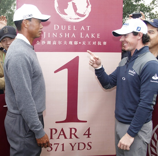 Tiger Woods of USA (left) and Rory McIlroy of Northern Ireland