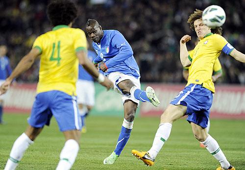 Mario Balotelli of Italy scores the equaliser against Brazil on Thursday