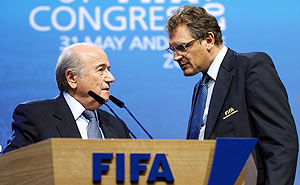 Jerome Valcke and Sepp Blatter (left)