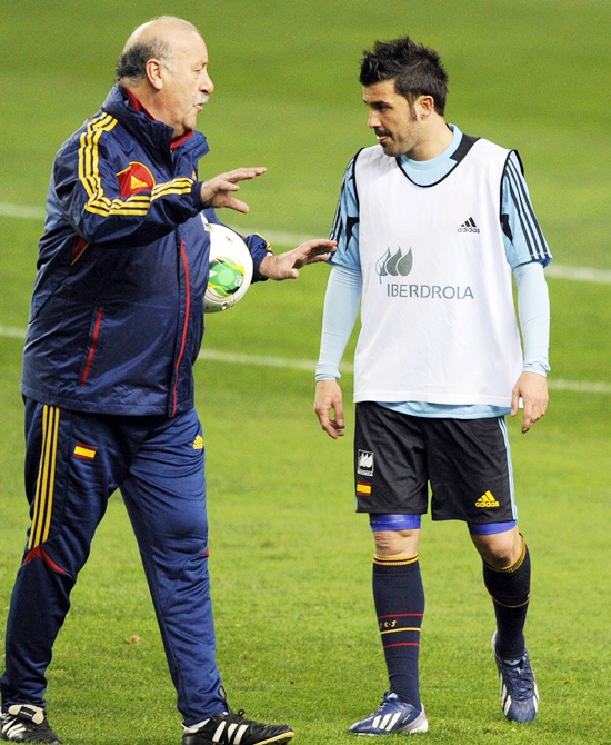 Spain's national soccer coach Vicente del Bosque talks to David Villa