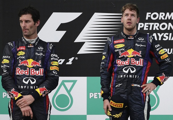 Red Bull Formula One driver Sebastian Vettel (right) and teammate Mark Webber