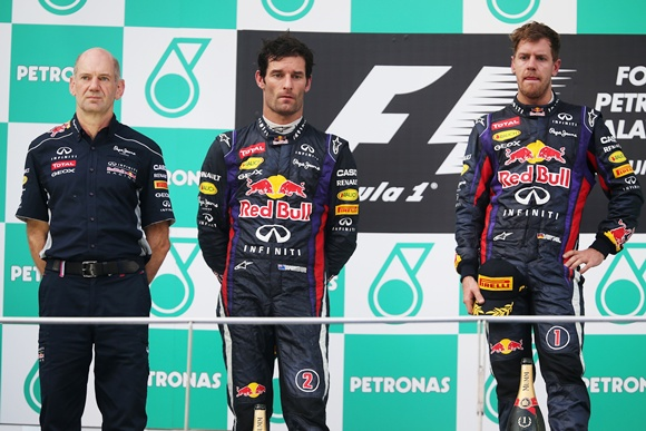Race winner Sebastian Vettel (right), Mark Webber (centre) Red Bull Racing Chief Technical Officer Adrian Newey