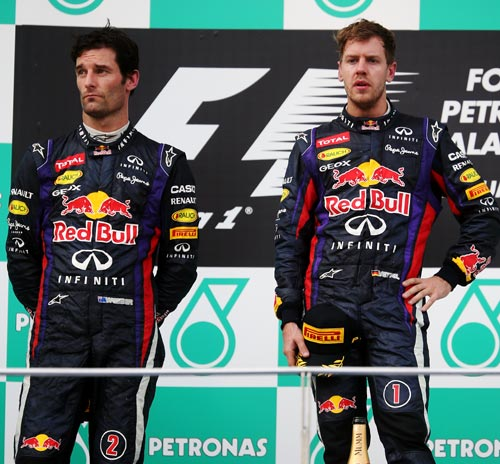 Sebastian Vettel (right) with Mark Webber
