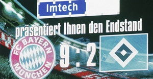 Score board after the match between Bayern Munich and HSV Hamburg