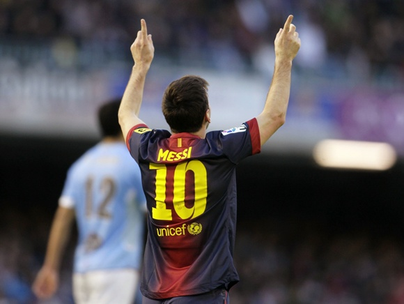 Barcelona's Lionel Messi celebrates his goal