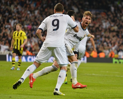 Sergio Ramos celebrates after scoring