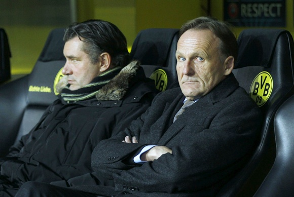 Borussia Dortmund's sports director Michael Zorc (left) and CEO Hans-Joachim Watzke