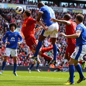 Sylvain Distin of Everton scores