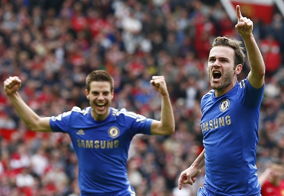 Chelsea's Juan Mata (right) celebrates his goal