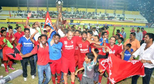 Churchill Brothers players celebrate after winning I League title