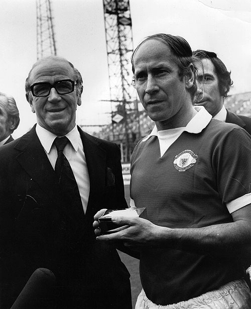 Manchester United board member and former manager, Sir Matt Busby (left) with Bobby Charlton, after Charlton's 604th and final League appearance against Chelsea at Stamford Bridge on 28th April, 1973