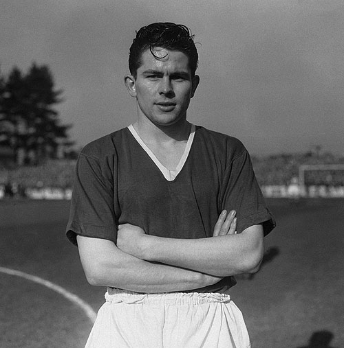 Manchester United player Wilf McGuinness, March 1957. He later became the club's manager