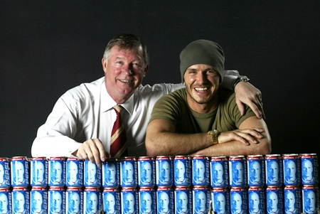 David Beckham with Alex Ferguson