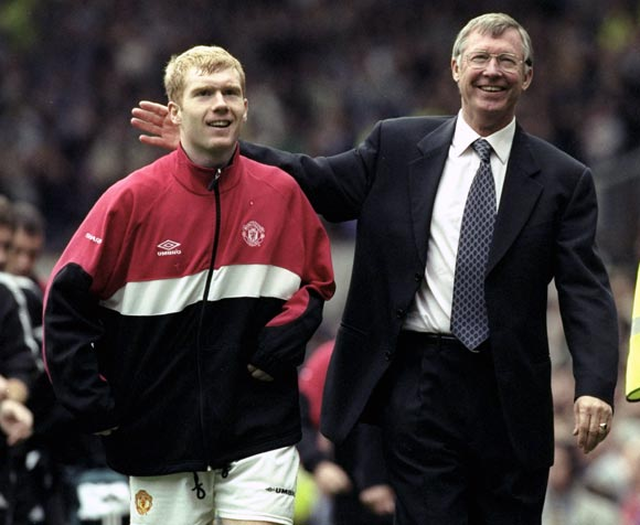Alex Ferguson (right) with Paul Scholes