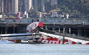 Andrew Simpson's boat capsizes