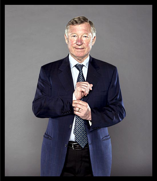 A portrait of Alex Ferguson at the Carrington Training Ground in Manchester