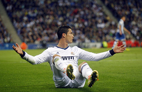 Real Madrid's Cristiano Ronaldo reacts during their La Liga match against Espanyol at Cornella-El Prat stadium on Sunday