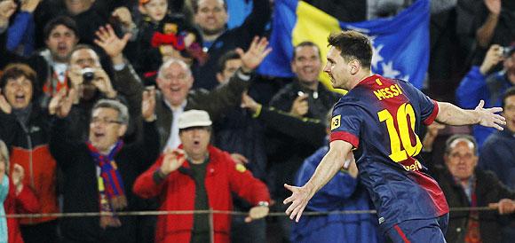 Lionel Messi celebrates a goal