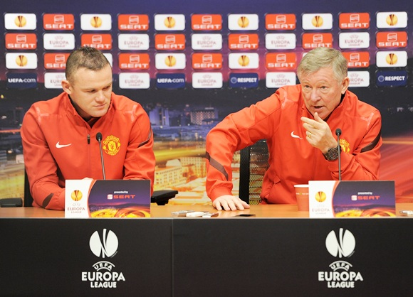 Wayne Rooney of Manchester United with Sir Alex Ferguson