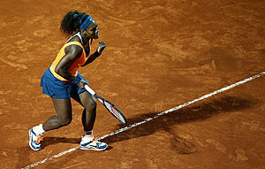 Serena Williams of the US celebrates a point against Laura Robson of Great Britain during their second round match of the Rome Masters on Tuesday