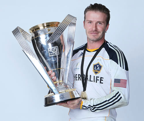 David Beckham with his first MLS title with LA Galaxy in November last year