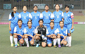 Indian women's football team during a photo-op on Tuesday