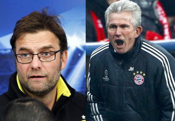 Borussia Dortmund's coach Juergen Klopp and Bayern Munich coach Jupp Heynckes
