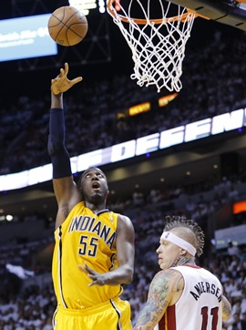 Indiana Pacers' Roy Hibbert (left)