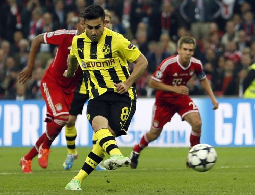 Borussia Dortmund's Ilkay Guendogan scores a penalty goal against Bayern Munich during their Champions League final soccer match at Wembley stadium in London