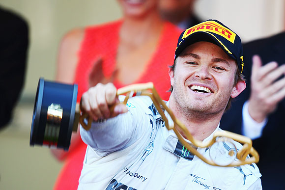 Nico Rosberg of Germany and Mercedes GP celebrates after winning the Monaco Formula One Grand Prix at the Circuit de Monaco on on Sunday