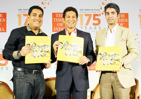 Abhinav Bindra, Boria Majumdar and Sachin Tendulkar during the book launch