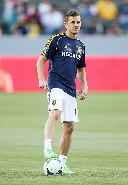 Robbie Rogers of Los Angeles Galaxy warms up prior to the start of the game against the Seattle Sounders FC on Sunday