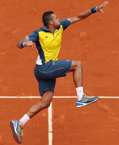 Jo-Wilfried Tsonga of France celebrates victory