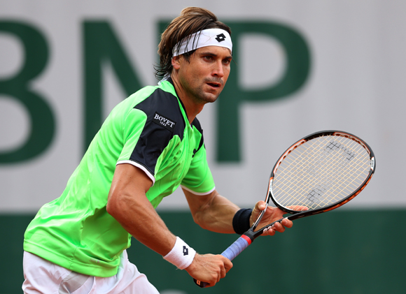 David Ferrer of Spain in action