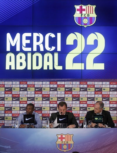 Abidal not played a competitive game for 14 months