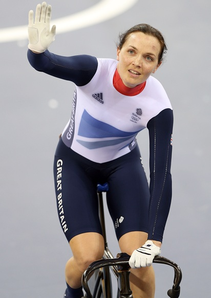 Victoria Pendleton of Great Britain waves to the crowd
