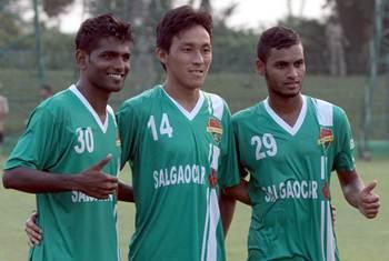Salgaocar's goal-scorers (from left) Francis Fernandes, Karma Tsewang and Clifton Dias