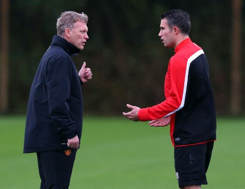 Robin van Persie and David Moyes