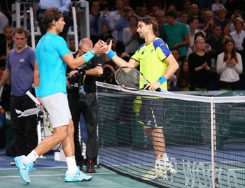 Nadal and Ferrer after Saturday's semi-final in the Paris Masters