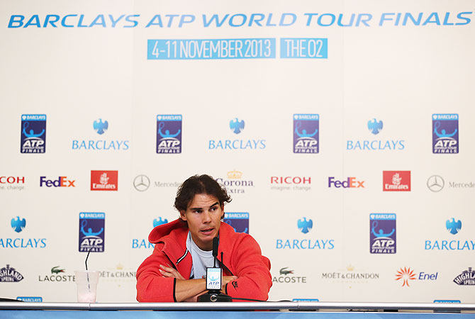 Rafael Nadal of Spain talks to the media on Day 1 of the ATP World Tour Finals at O2 Arena in London on Monday