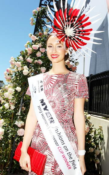 Chloe Moo, daily winner of Fashions on the Field poses, during Melbourne Cup Day