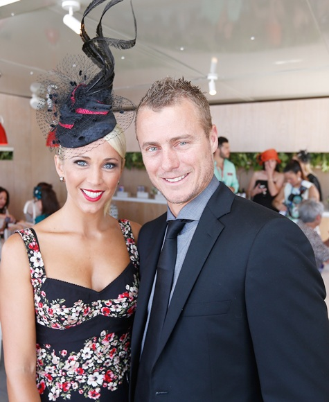 Tennis player Lleyton Hewitt and wife Bec Hewitt attend Melbourne Cup Day
