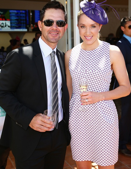 Former Australian cricket captain Ricky Ponting and Rianna Ponting arrive during Melbourne Cup Day