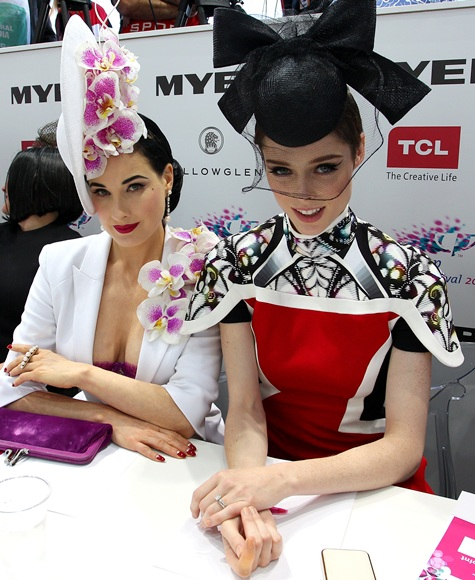 Dita von Teese (left) and Canadian model Coco Rocha look on   during judging of Myer Fashions on the Field during Melbourne Cup Day
