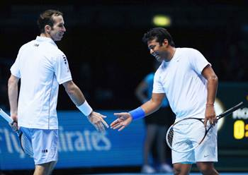 Radek Stepanek and Leander Paes during their match