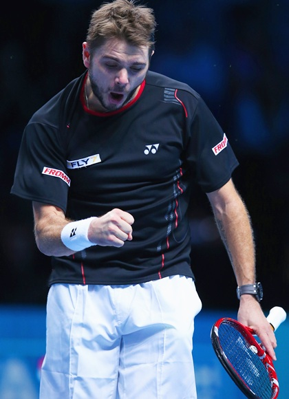 Stanislas Wawrinka of Switzerland celebrates